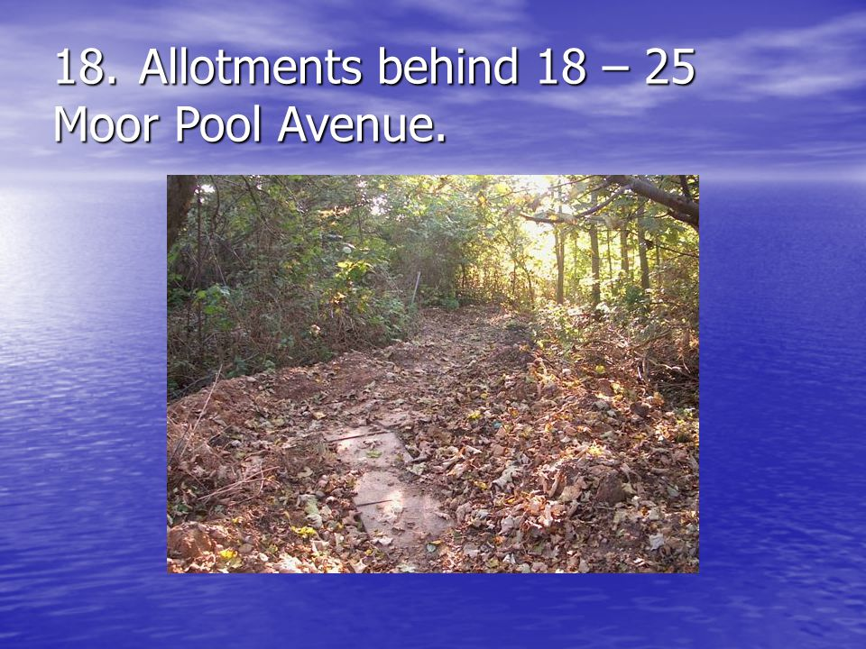 18.Allotments behind 18 – 25 Moor Pool Avenue.
