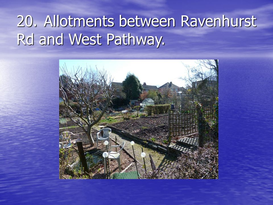20.Allotments between Ravenhurst Rd and West Pathway.