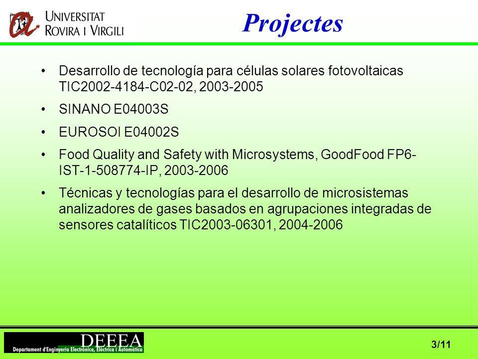 3/11 Projectes Desarrollo de tecnología para células solares fotovoltaicas TIC2002-4184-C02-02, 2003-2005 SINANO E04003S EUROSOI E04002S Food Quality and Safety with Microsystems, GoodFood FP6- IST-1-508774-IP, 2003-2006 Técnicas y tecnologías para el desarrollo de microsistemas analizadores de gases basados en agrupaciones integradas de sensores catalíticos TIC2003-06301, 2004-2006