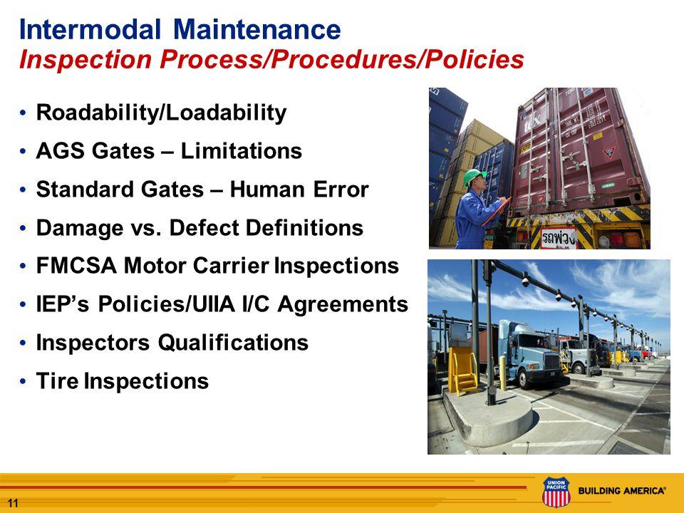11 Intermodal Maintenance Inspection Process/Procedures/Policies Roadability/Loadability AGS Gates – Limitations Standard Gates – Human Error Damage vs.