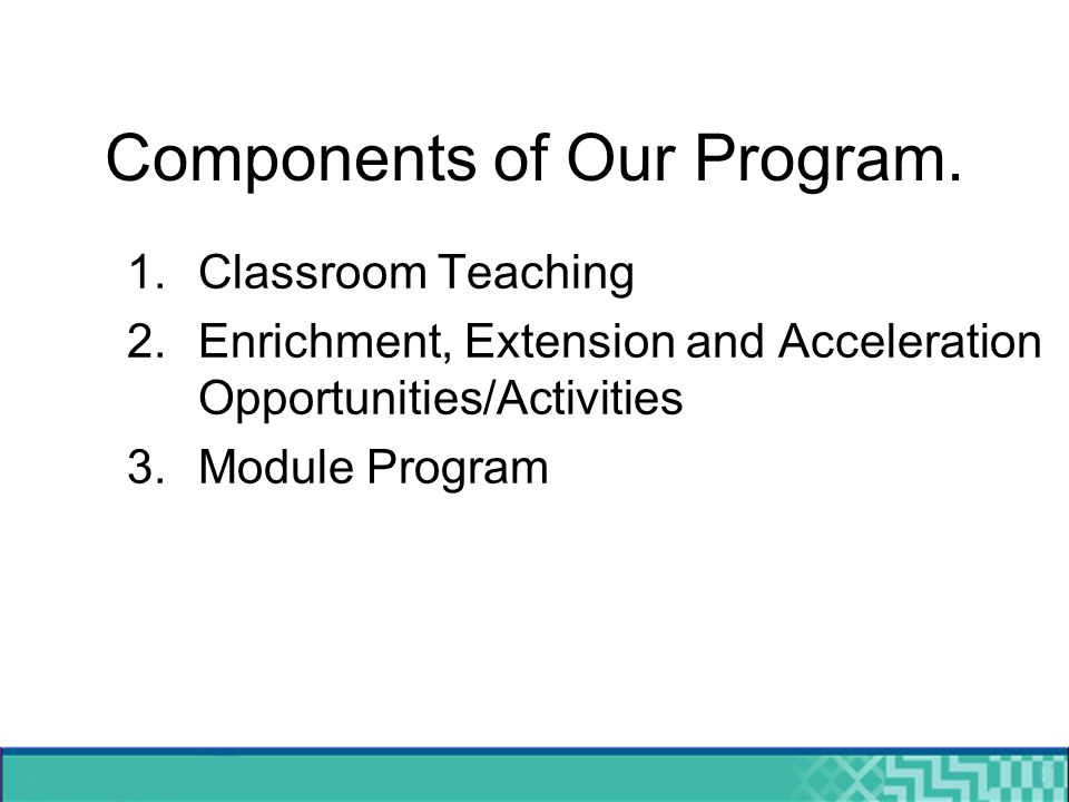 Components of Our Program.