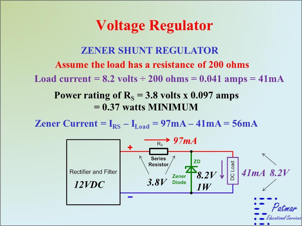 Voltage Regulator ZENER SHUNT REGULATOR Assume the load has a resistance of 200 ohms Power rating of R S = 3.8 volts x 0.097 amps = 0.37 watts MINIMUM