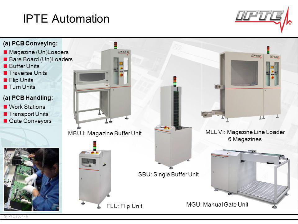 © IPTE 2007 - 5 IPTE Automation MLL VI: Magazine Line Loader 6 Magazines FLU: Flip Unit MBU I: Magazine Buffer Unit SBU: Single Buffer Unit MGU: Manua