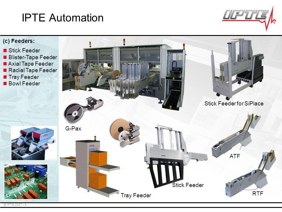 © IPTE 2007 - 9 SpeedRouter FlexRouter TopRouter EasyRouter 1-D Router Flip Unit Cleaning Stations Labeling Tray Feeders Palletizers SpeedRouter TM TopRouter EasyRouter IPTE Automation (d) Depaneling: FlexRouter