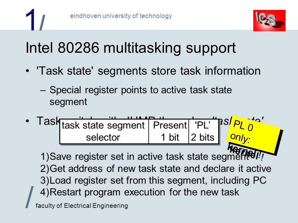 1/1/ / faculty of Electrical Engineering eindhoven university of technology Intel 80286 multitasking support Task state segments store task information –Special register points to active task state segment Task switch with JUMP through a task gate PL 2 bits Present 1 bit task state segment selector 1)Save register set in active task state segment 2)Get address of new task state and declare it active 3)Load register set from this segment, including PC 4)Restart program execution for the new task PL 0 only: kernel !
