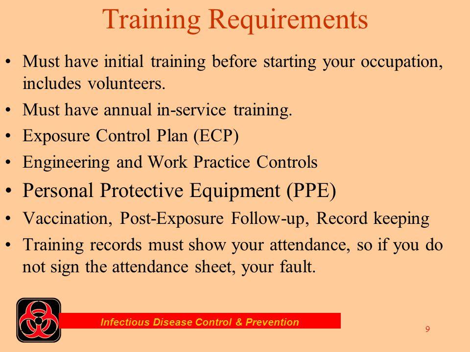 Infectious Disease Control & Prevention 8 Infection Control Plan Training & Education. Health Maintenance. Immunizations. Exposure Management. Cleanin