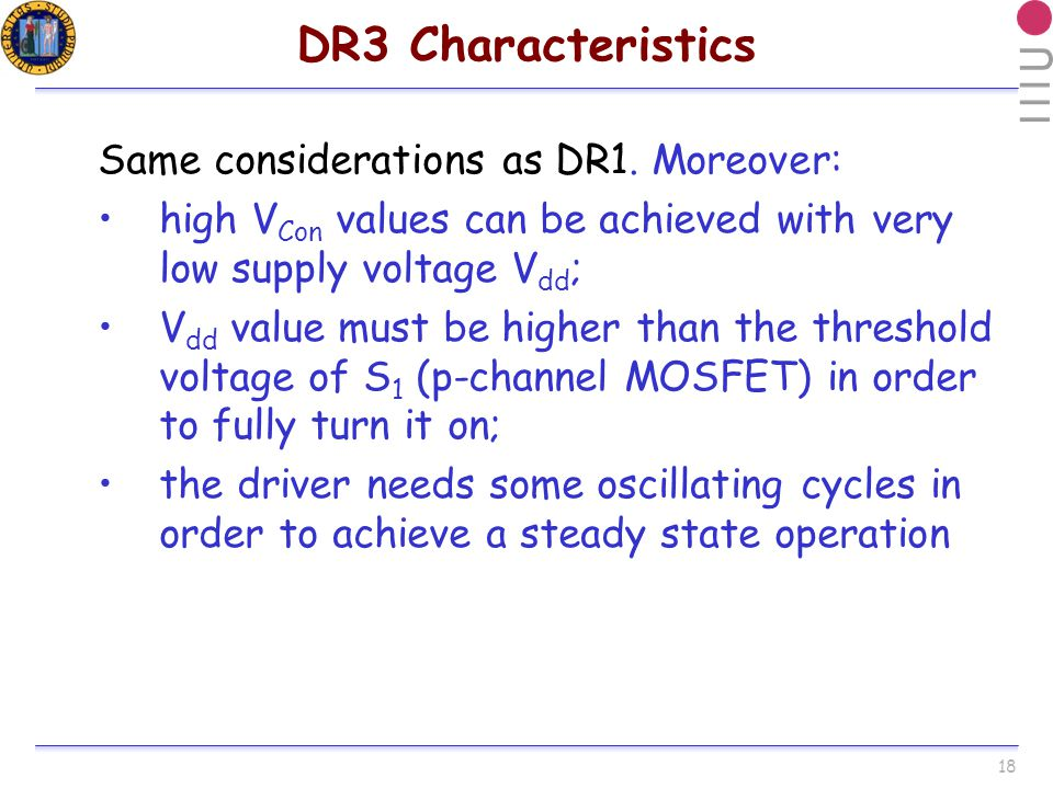 18 DR3 Characteristics Same considerations as DR1.