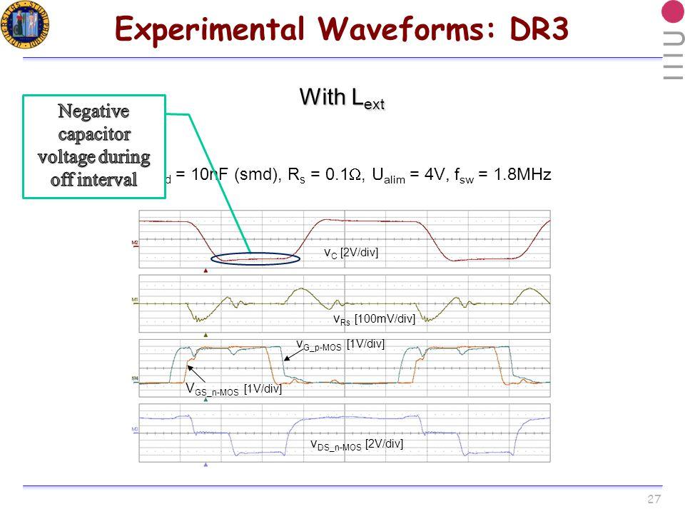 27 Experimental Waveforms: DR3 With L ext v C [2V/div] v Rs [100mV/div] V GS_n-MOS [1V/div] v G_p-MOS [1V/div] v DS_n-MOS [2V/div] C Load = 10nF (smd), R s = 0.1, U alim = 4V, f sw = 1.8MHz