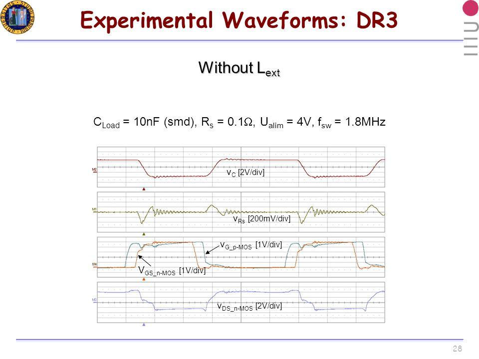 28 Experimental Waveforms: DR3 Without L ext v C [2V/div] v Rs [200mV/div] V GS_n-MOS [1V/div] v G_p-MOS [1V/div] v DS_n-MOS [2V/div] C Load = 10nF (smd), R s = 0.1, U alim = 4V, f sw = 1.8MHz