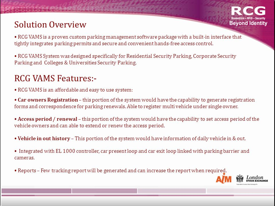 RCG VAMS is a proven custom parking management software package with a built-in interface that tightly integrates parking permits and secure and convenient hands-free access control.