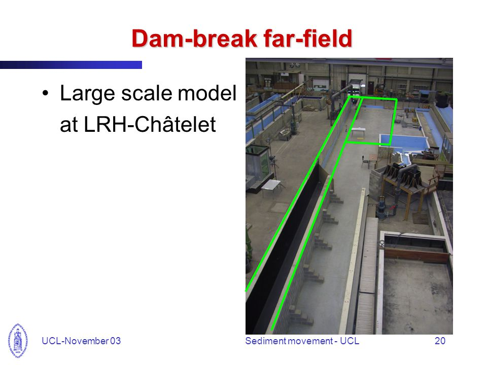 UCL-November 03Sediment movement - UCL20 Dam-break far-field Large scale model at LRH-Châtelet