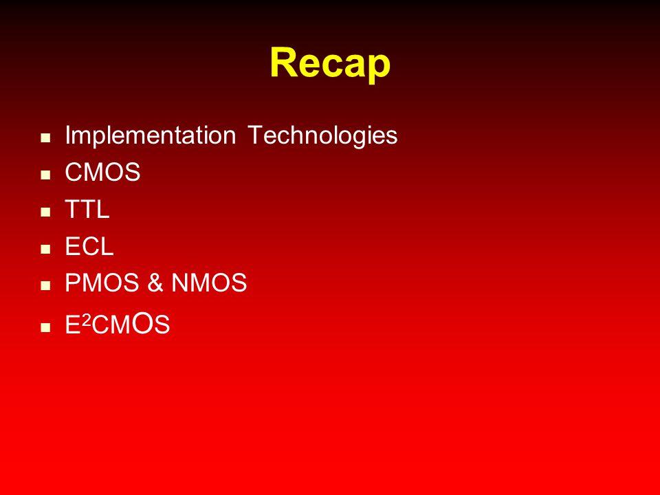 Recap Implementation Technologies CMOS TTL ECL PMOS & NMOS E 2 CM O S