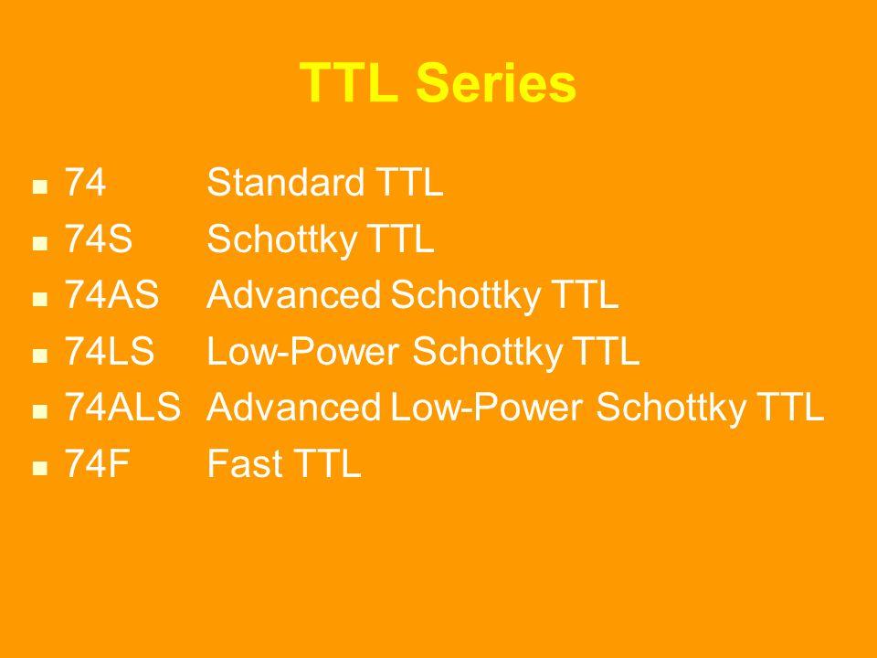 TTL Series 74Standard TTL 74SSchottky TTL 74AS Advanced Schottky TTL 74LSLow-Power Schottky TTL 74ALS Advanced Low-Power Schottky TTL 74FFast TTL