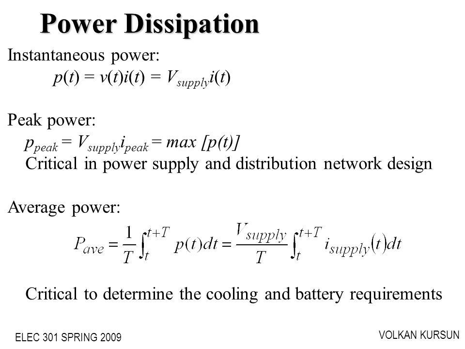ELEC 301 SPRING 2009 VOLKAN KURSUN Instantaneous power: p(t) = v(t)i(t) = V supply i(t) Peak power: p peak = V supply i peak = max [p(t)] Critical in