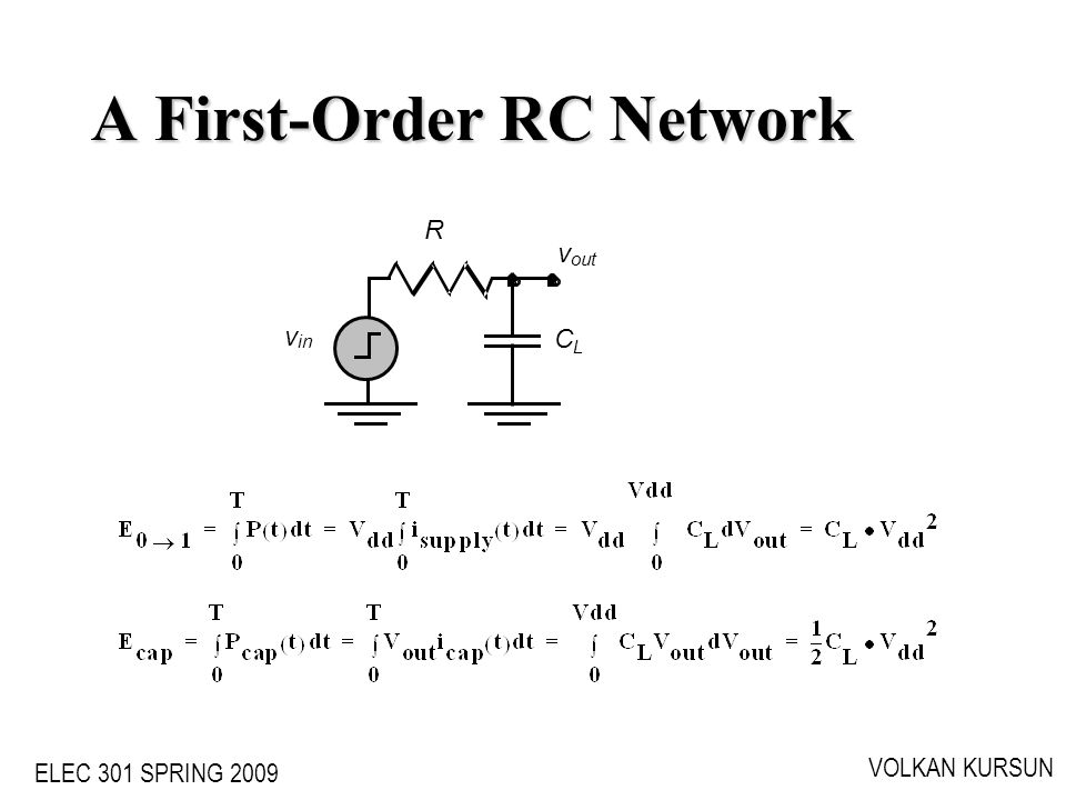 ELEC 301 SPRING 2009 VOLKAN KURSUN A First-Order RC Network v out v in CLCL R