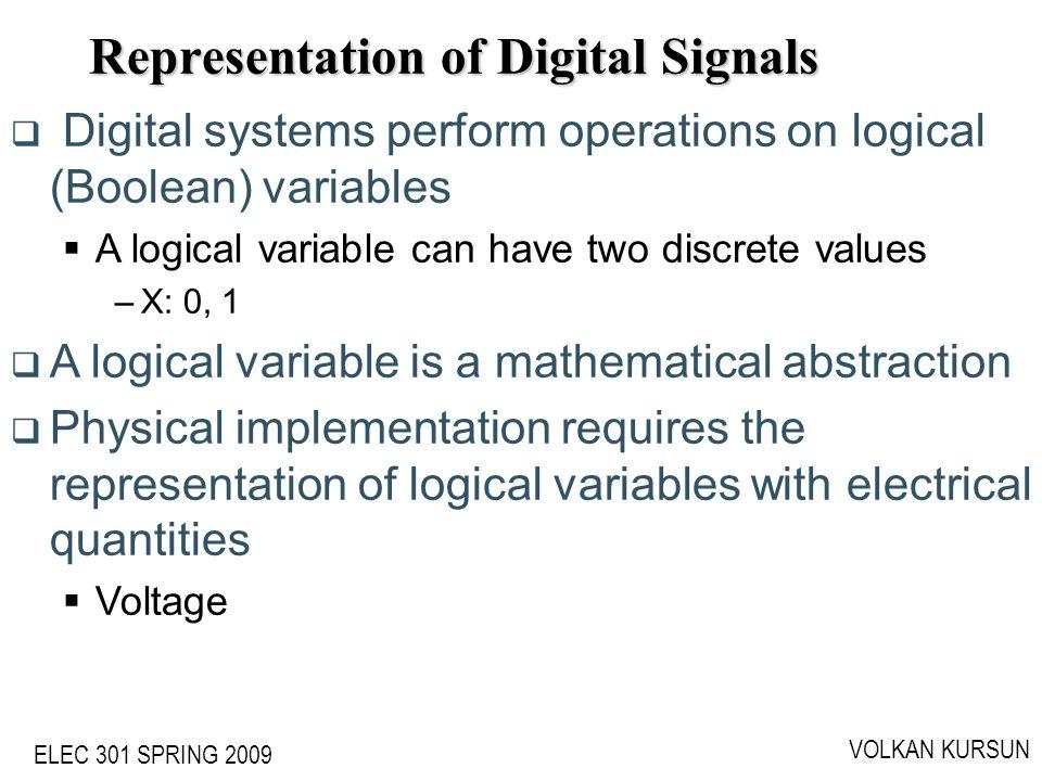 ELEC 301 SPRING 2009 VOLKAN KURSUN Representation of Digital Signals Digital systems perform operations on logical (Boolean) variables A logical varia