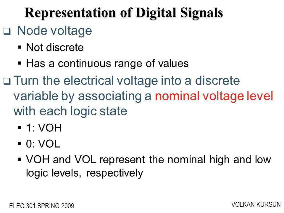 ELEC 301 SPRING 2009 VOLKAN KURSUN Representation of Digital Signals Node voltage Not discrete Has a continuous range of values Turn the electrical vo