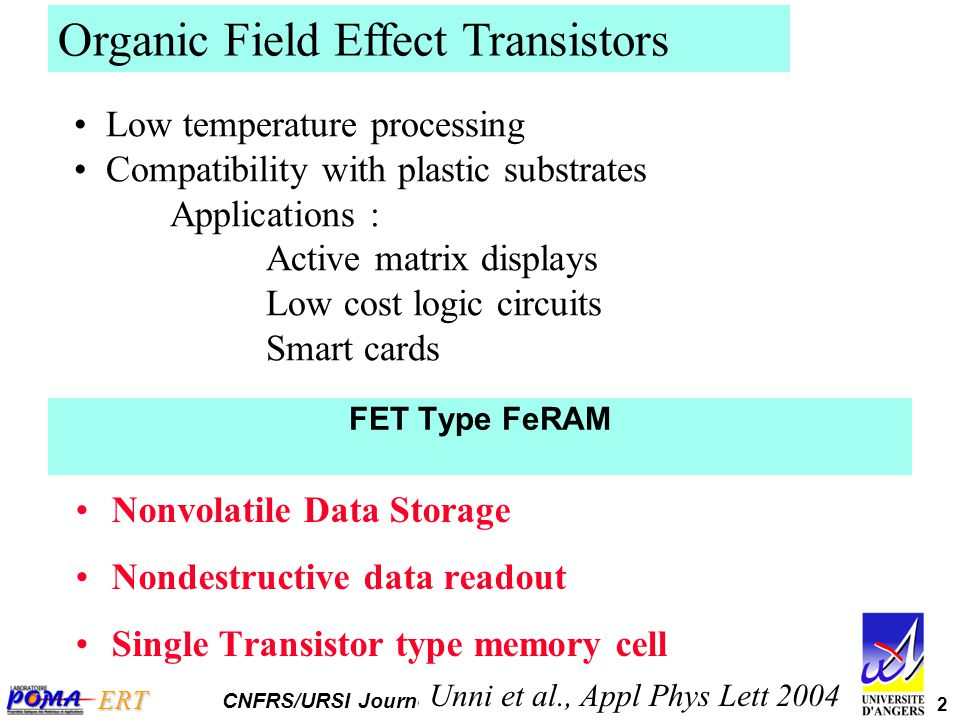 2 ERT CNFRS/URSI Journées Scientifiques 2007 Organic Field Effect Transistors Low temperature processing Compatibility with plastic substrates Applica