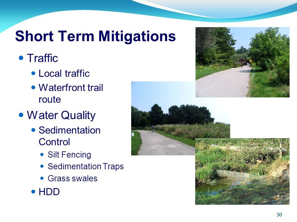 30 Short Term Mitigations 30 Traffic Local traffic Waterfront trail route Water Quality Sedimentation Control Silt Fencing Sedimentation Traps Grass s