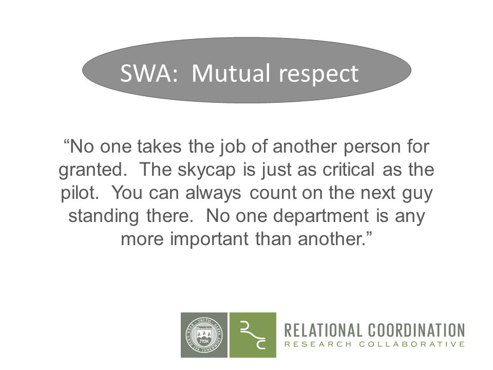 Site 2: Mutual Respect No one takes the job of another person for granted. The skycap is just as critical as the pilot. You can always count on the ne