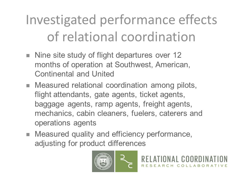 Investigated performance effects of relational coordination n Nine site study of flight departures over 12 months of operation at Southwest, American,