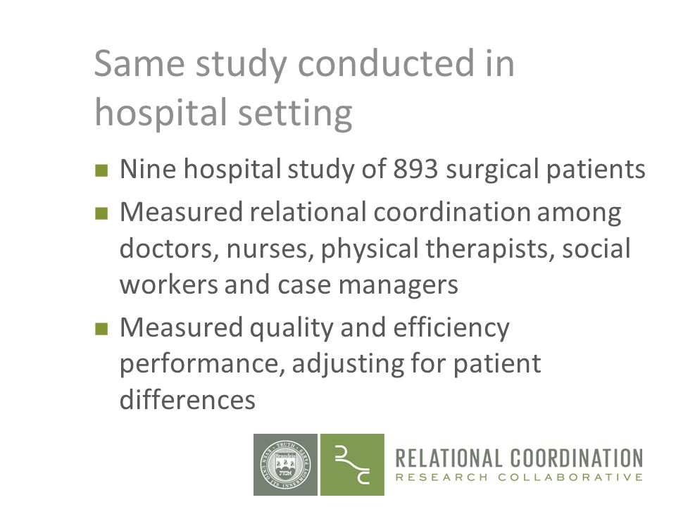 Same study conducted in hospital setting n Nine hospital study of 893 surgical patients n Measured relational coordination among doctors, nurses, phys