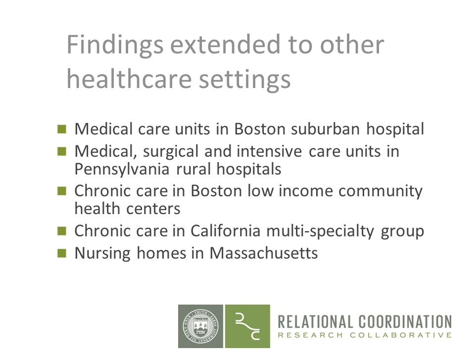 Findings extended to other healthcare settings Medical care units in Boston suburban hospital Medical, surgical and intensive care units in Pennsylvan