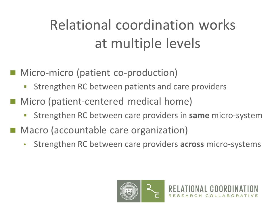 Relational coordination works at multiple levels Micro-micro (patient co-production) Strengthen RC between patients and care providers Micro (patient-