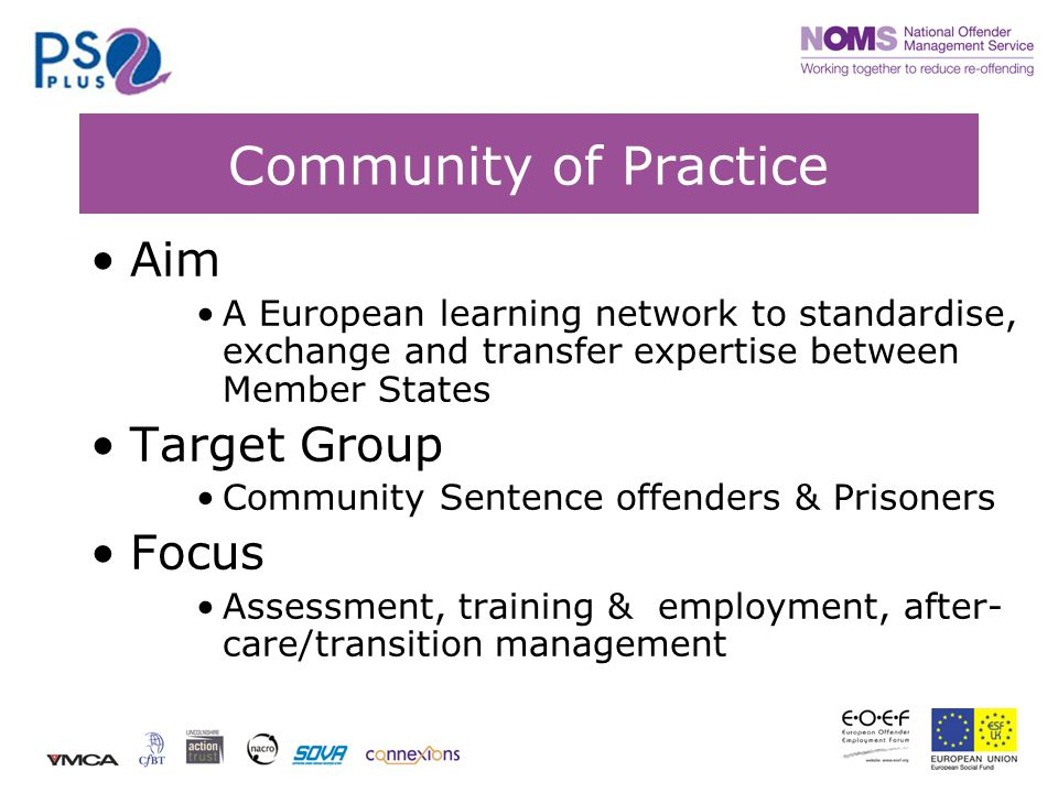 Community of Practice Aim A European learning network to standardise, exchange and transfer expertise between Member States Target Group Community Sentence offenders & Prisoners Focus Assessment, training & employment, after- care/transition management