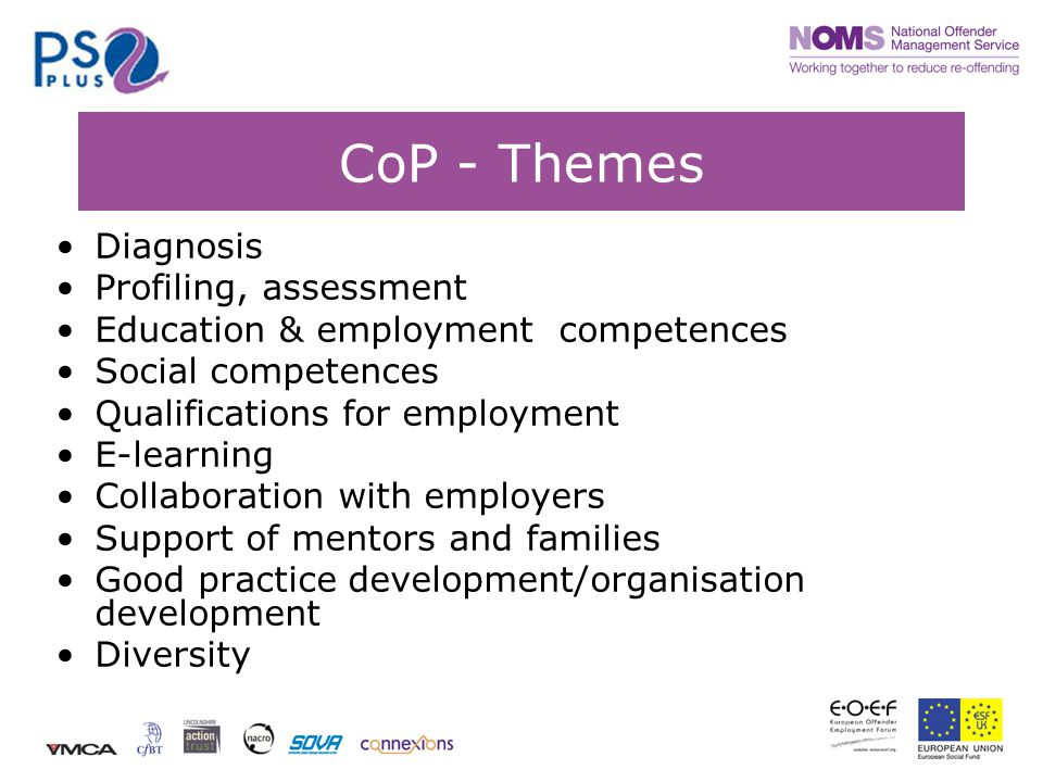 CoP - Themes Diagnosis Profiling, assessment Education & employment competences Social competences Qualifications for employment E-learning Collaboration with employers Support of mentors and families Good practice development/organisation development Diversity