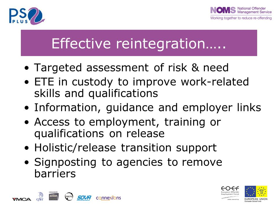 Effective reintegration…..