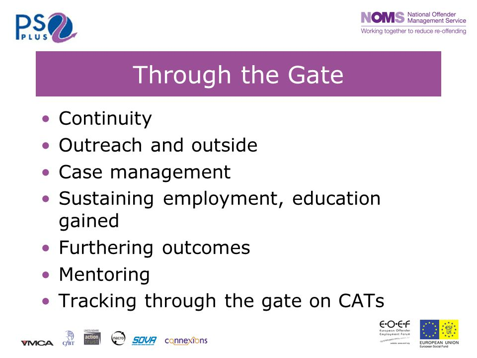 Through the Gate Continuity Outreach and outside Case management Sustaining employment, education gained Furthering outcomes Mentoring Tracking through the gate on CATs