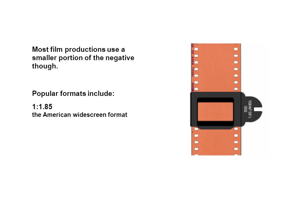 Popular formats include: 1:1.85 the American widescreen format