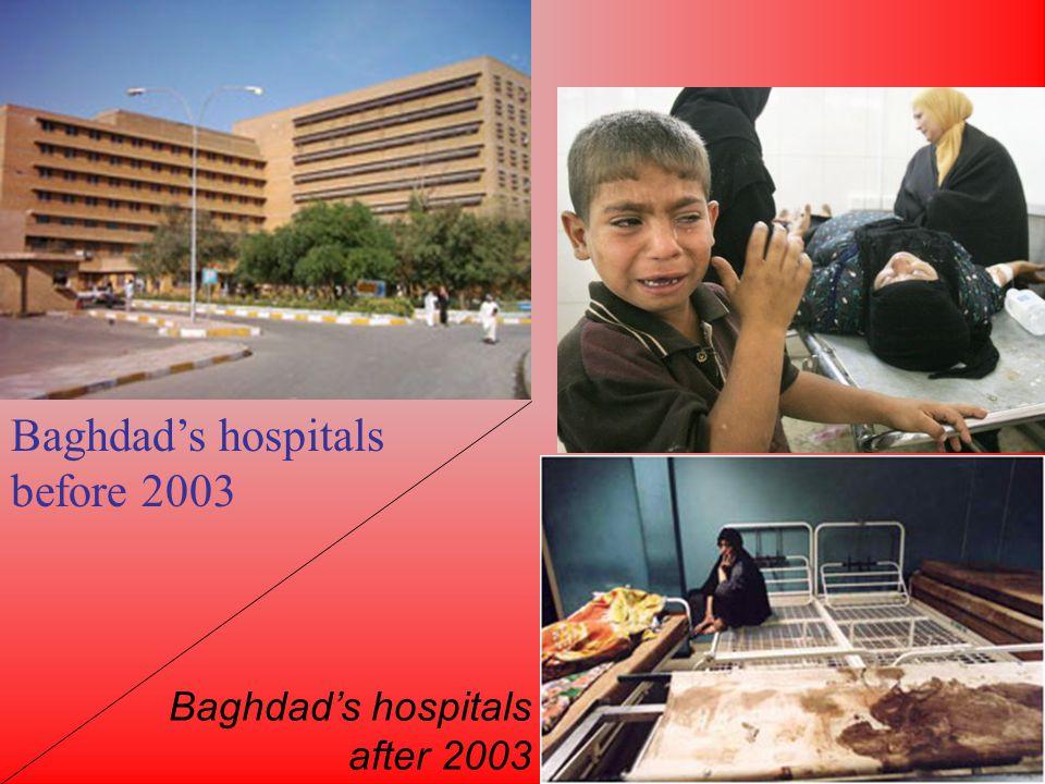 Baghdads hospitals before 2003 Baghdads hospitals after 2003