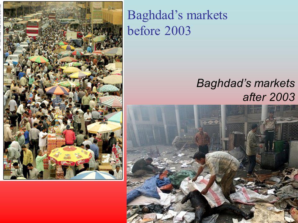 Baghdads markets before 2003 Baghdads markets after 2003