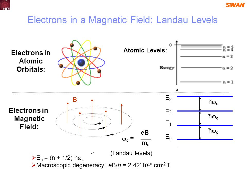 SWAN Atomic Levels: Electrons in Magnetic Field: Electrons in Atomic Orbitals: E0E0 E2E2 E1E1 E3E3 B ħ c Electrons in a Magnetic Field: Landau Levels (Landau levels) E n = (n + 1/2) h c c = eB meme Macroscopic degeneracy: eB/h = 2.42 cm -2 T