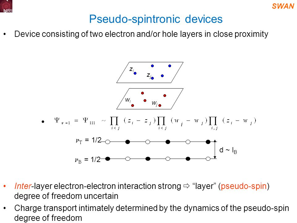 SWAN Pseudo-spintronic devices Device consisting of two electron and/or hole layers in close proximity Inter-layer electron-electron interaction strong layer (pseudo-spin) degree of freedom uncertain Charge transport intimately determined by the dynamics of the pseudo-spin degree of freedom zizi zjzj wiwi wjwj = 1/2 d ~ l B