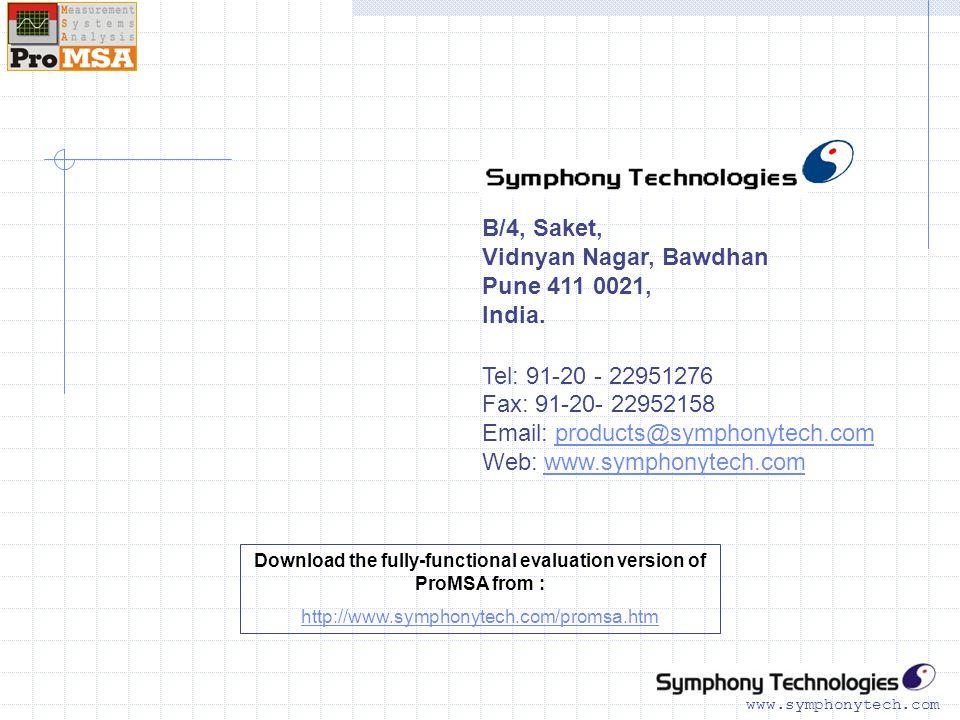 www.symphonytech.com B/4, Saket, Vidnyan Nagar, Bawdhan Pune 411 0021, India.