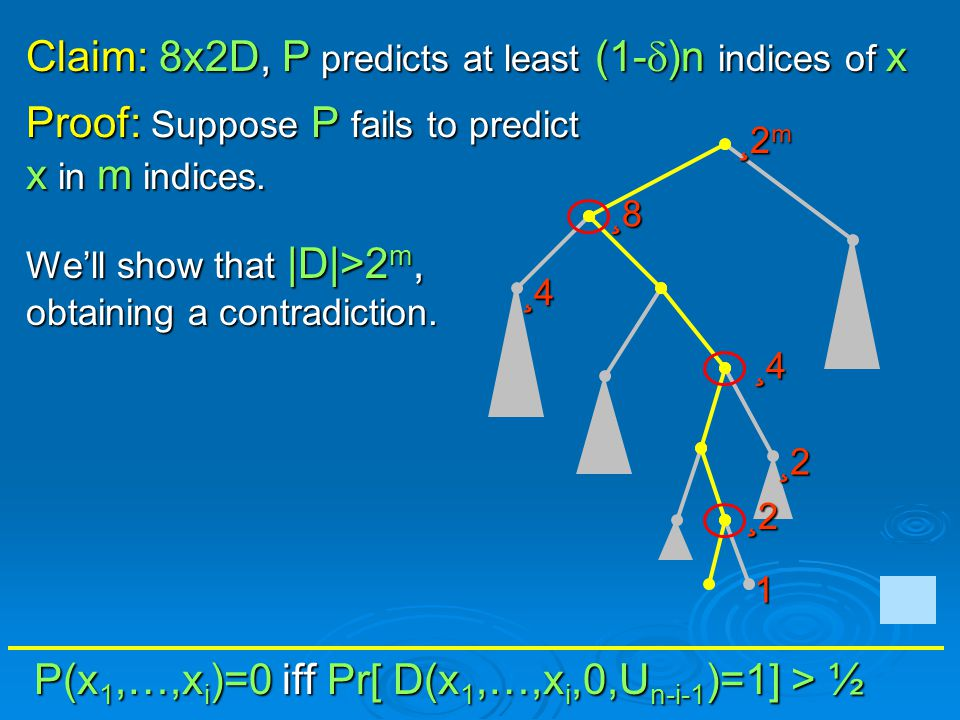 P(x 1,…,x i )=0 iff Pr[ D(x 1,…,x i,0,U n-i-1 )=1] > ½ Proof: Suppose P fails to predict x in m indices. Well show that |D|>2 m, obtaining a contradic