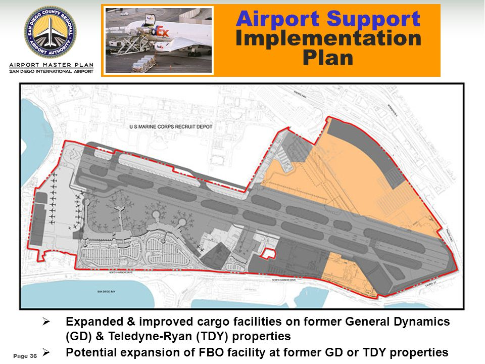 Page 36 Expanded & improved cargo facilities on former General Dynamics (GD) & Teledyne-Ryan (TDY) properties Potential expansion of FBO facility at f