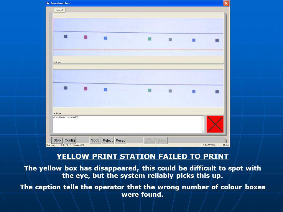 YELLOW PRINT STATION FAILED TO PRINT The yellow box has disappeared, this could be difficult to spot with the eye, but the system reliably picks this up.