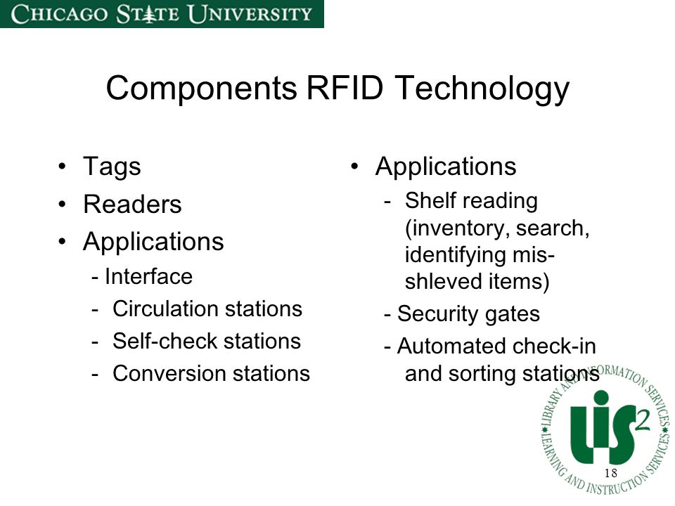 18 Components RFID Technology Tags Readers Applications - Interface -Circulation stations -Self-check stations -Conversion stations Applications -Shel
