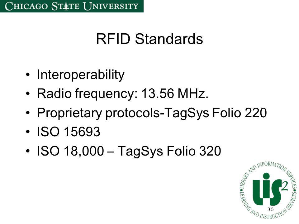 30 RFID Standards Interoperability Radio frequency: 13.56 MHz. Proprietary protocols-TagSys Folio 220 ISO 15693 ISO 18,000 – TagSys Folio 320