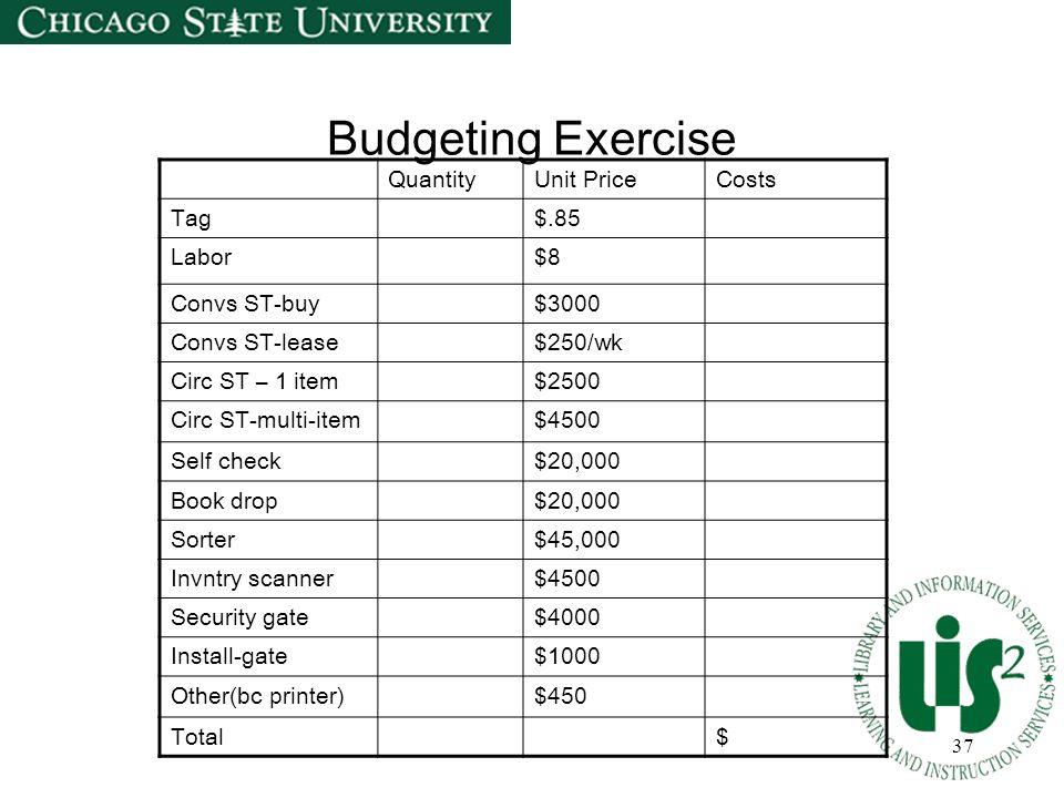 37 Budgeting Exercise QuantityUnit PriceCosts Tag$.85 Labor$8 Convs ST-buy$3000 Convs ST-lease$250/wk Circ ST – 1 item$2500 Circ ST-multi-item$4500 Se