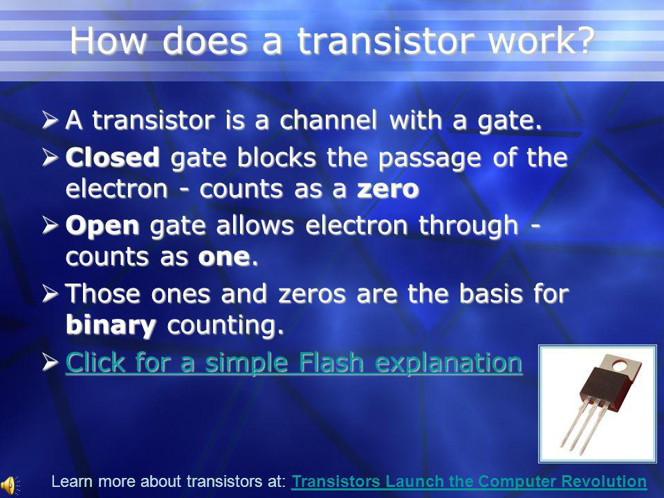 The First Transistor Created at Bell Labs Created at Bell Labs Small, light weight Small, light weight Cheap to produce Cheap to produce Made portable electronics possible Made portable electronics possible
