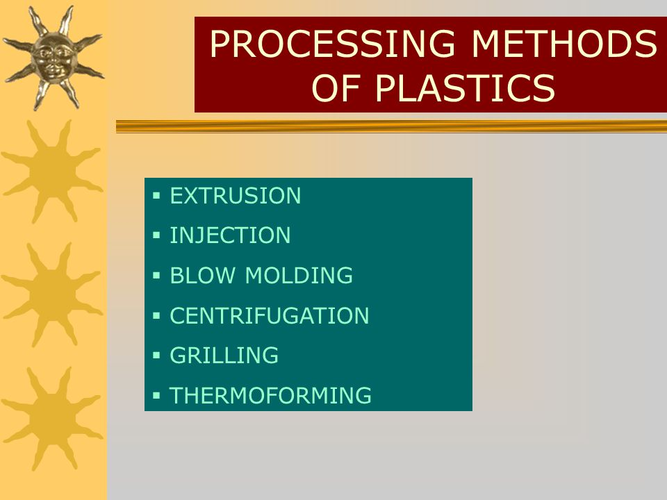 PROCESSING METHODS OF PLASTICS EXTRUSION INJECTION BLOW MOLDING CENTRIFUGATION GRILLING THERMOFORMING