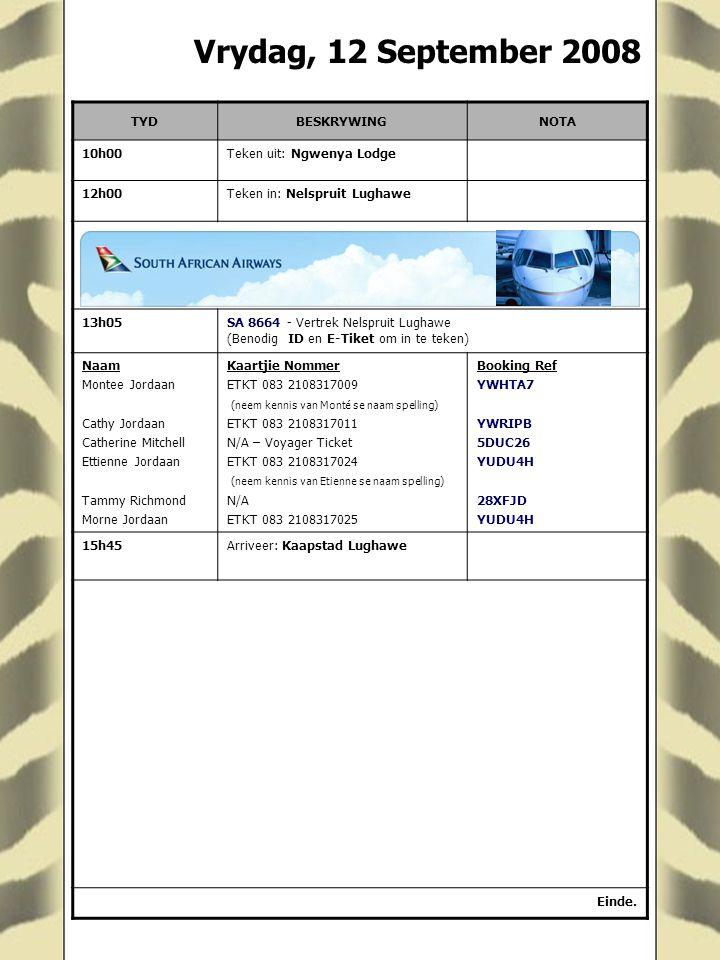 Vrydag, 12 September 2008 TYDBESKRYWINGNOTA 10h00Teken uit: Ngwenya Lodge 12h00Teken in: Nelspruit Lughawe 13h05SA 8664 - Vertrek Nelspruit Lughawe (B