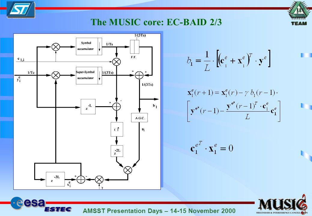 AMSST Presentation Days – 14-15 November 2000 The MUSIC core: EC-BAID 2/3