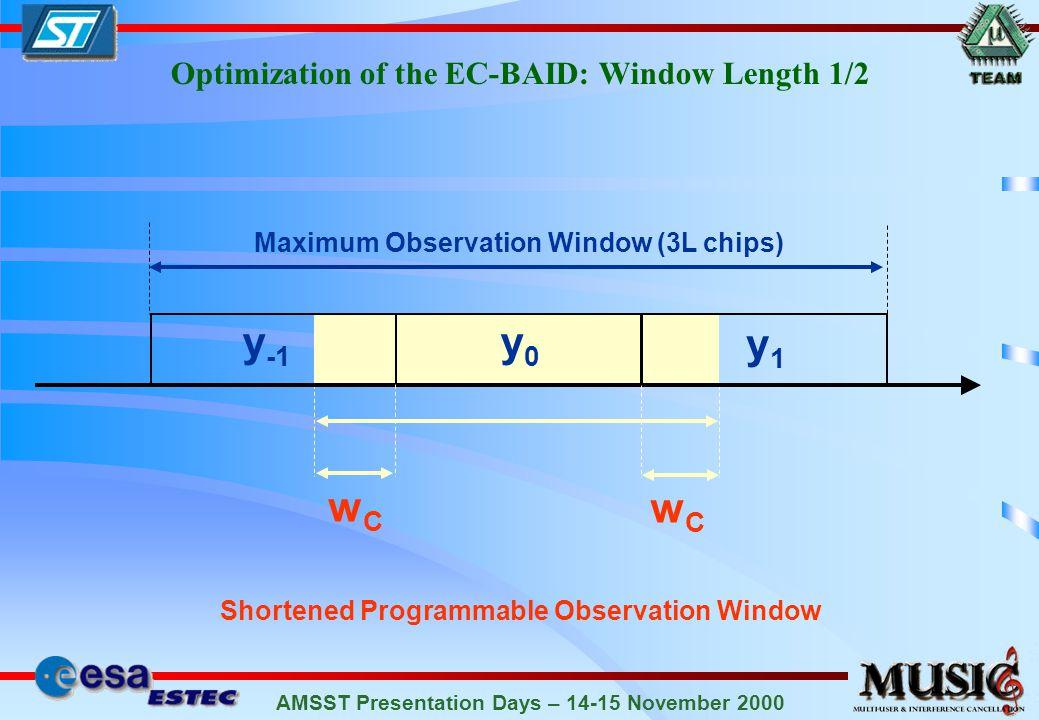 AMSST Presentation Days – 14-15 November 2000 Shortened Programmable Observation Window Optimization of the EC-BAID: Window Length 1/2 y1y1 y0y0 y -1