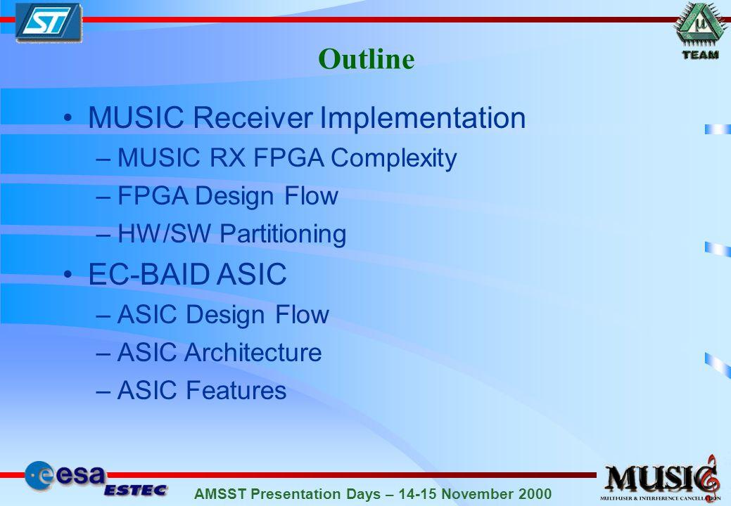 AMSST Presentation Days – 14-15 November 2000 Outline MUSIC Receiver Implementation –MUSIC RX FPGA Complexity –FPGA Design Flow –HW/SW Partitioning EC